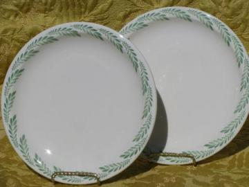 old fernware ironstone plates, vintage green fern edge Syracuse china