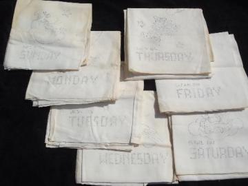 old floursack feed sack towels, kitchen angels days of the week to embroider