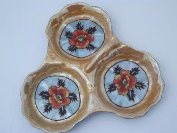 old flower mark hand-painted made in Japan china tidbit server w/ handle