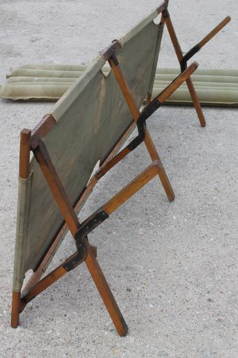 Old Folding Camp Cot Wwii Vintage Wood Amp Canvas Army Cot