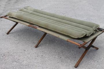 old folding camp cot, WWII vintage wood & canvas army cot portable field gear camping bed
