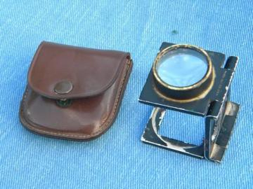 old folding magnifying glass loupe w/brass eyepiece steampunk vintage