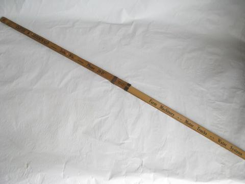 old folding wood measure, yardstick ruler w/ vintage advertising, Wisconsin farm primitive tool