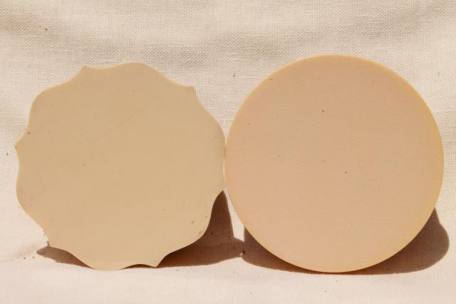old french ivory celluloid dresser tray and two big round pincushion hat pin holders