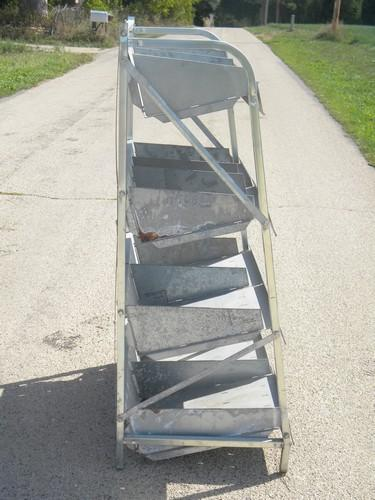 old galvanized metal parts rack, free standing shelf w/ storage bins