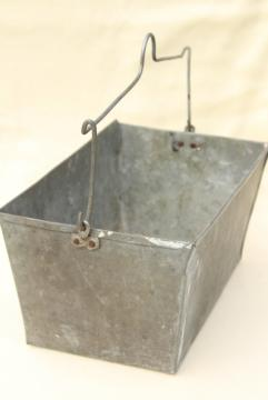old galvanized zinc metal tool tote box w/ wire handle, rustic primitive vintage patina
