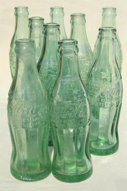 Old Glass Coke Bottle Lot Vintage Soda Bottles Sterling