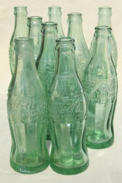 old glass Coke bottle lot, vintage soda bottles Sterling Illinois Rockford Freeport Macomb