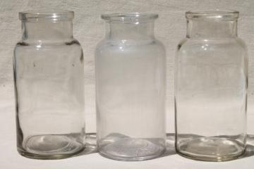 old glass apothecary bottles, vintage clear glass jars lot, bottle canisters or vases
