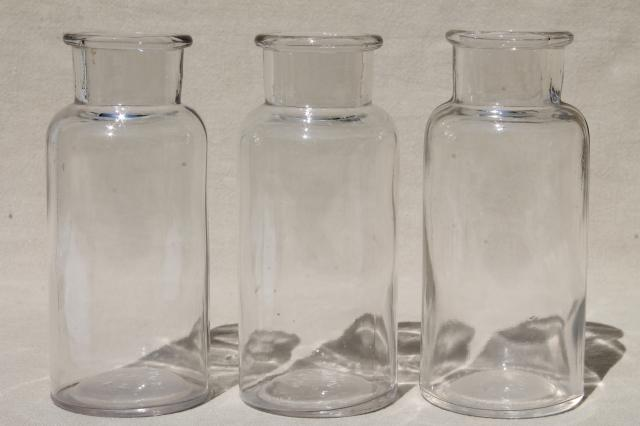 Old Glass Apothecary Bottles Vintage Clear Glass Jars Lot Bottle