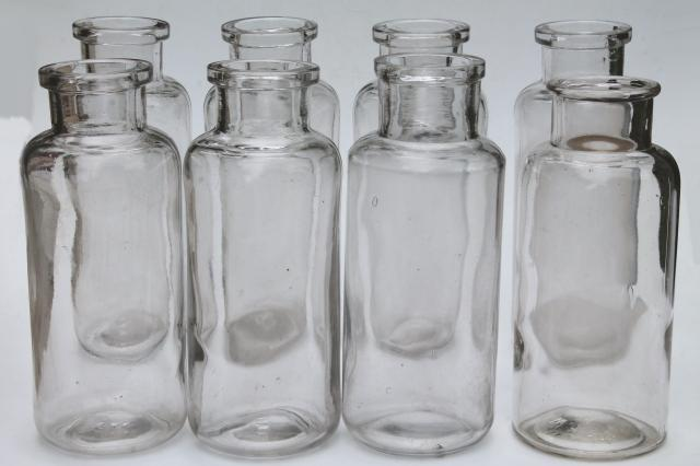 Famous old glass apothecary bottles, vintage clear glass jars, tall  PW03