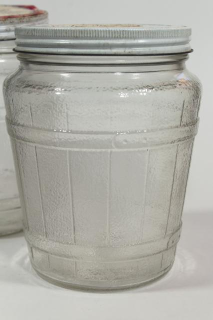 old glass barrel herring jars, primitive country vintage kitchen / pantry storage canisters