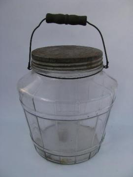 old glass barrel pickle canister jar w/ wood handle, vintage kitchen