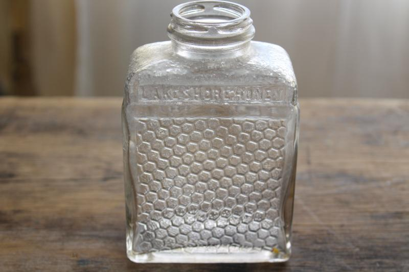 old glass bottle Lake Shore Honey embossed honeycomb texture, 1930s vintage