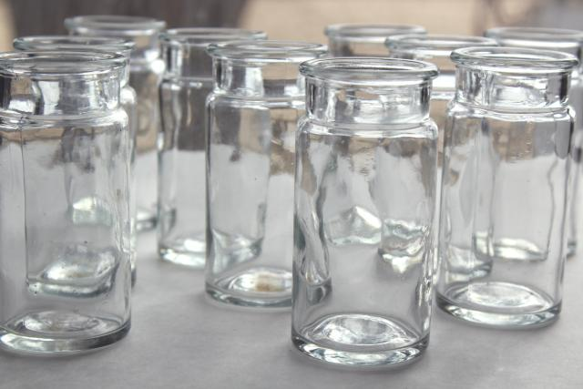old glass bottle lot, vintage spice set jars or lab glassware pharmacy chemical bottles