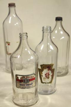 old glass bottles, large vinegar bottle lot w/ some original paper labels