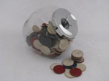 old glass canister jar of vintage poker chips, red, white & blue