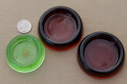 old glass furniture coasters sliders, vintage green depression / amber/ clear glass