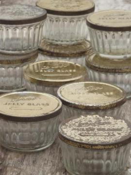 old glass jelly mold preserves jar lot, vintage jelly glasses w/ metal lids