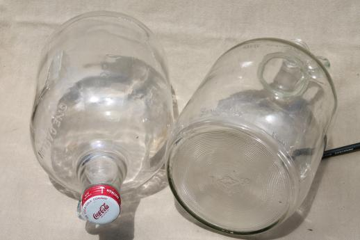 old glass jugs, gallon & half-gallon jug bottles one w/ coca-cola syrup label