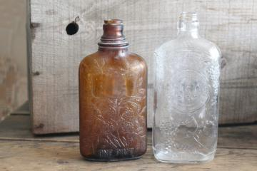 old glass liquor bottles, fancy embossed pattern glass wine & whiskey bottle flasks