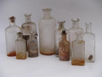 old glass medicine bottle lot, antique vintage bottles as found