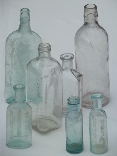 Old Glass Medicine Bottle Lot Clear Aqua Antique Vintage Bottles
