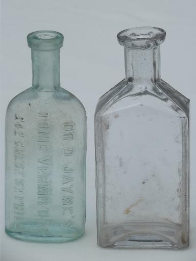 Old Glass Medicine Bottle Lot Clear Amp Aqua Glass Antique