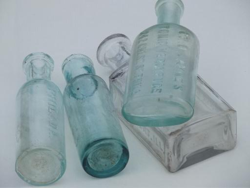 old glass medicine bottle lot, clear & aqua glass antique vintage bottles