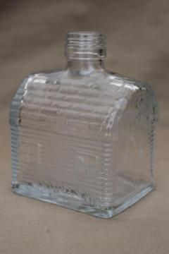 old glass syrup bottle, barn or cabin house figural glass bottle
