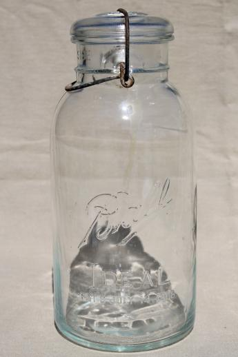 Old Glass Two Quart Canning Jars Vintage Wire Bail Lid