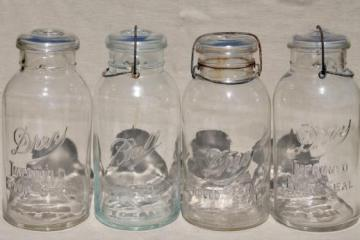 old glass two quart canning jars, vintage wire bail lid fruit jar canisters