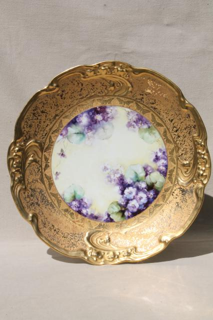 old gold encrusted china charger plate w/ hand-painted violets, vintage Limoges porcelain tray