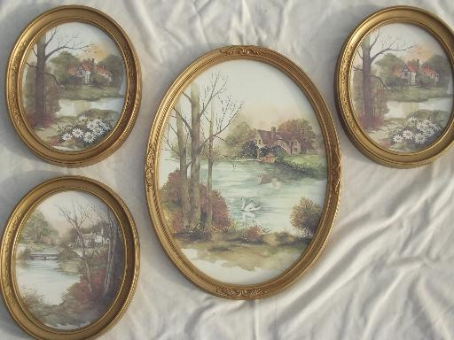 Oval Paintings On Glass Antiques