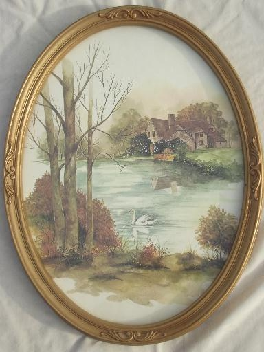 Old Gold Oval Frames W Pastoral Cottage Scene Watercolor