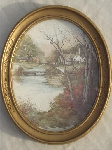 Old Gold Oval Frames W Pastoral Cottage Scene Watercolor