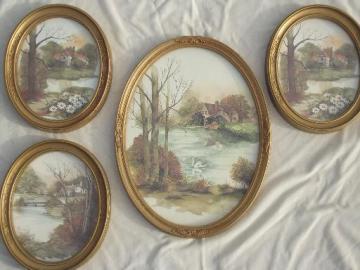 old gold oval frames w/ pastoral cottage scene watercolor prints, vintage framed art