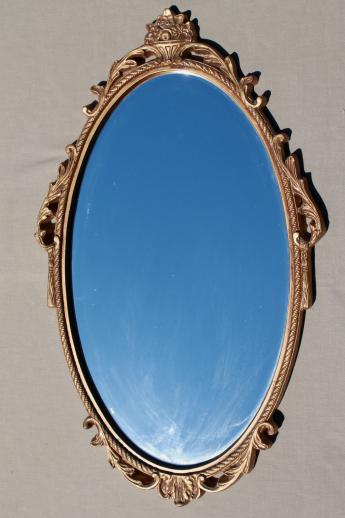 old gold rococo wall mirror, Syroco style plastic frame w/ oval glass