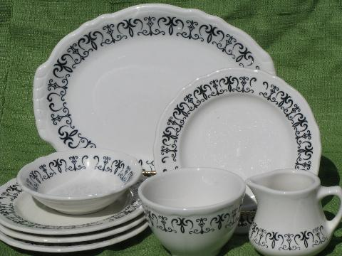 & old gothic black scroll white ironstone vintage Homer Laughlin china