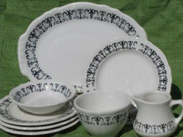 old gothic black scroll white ironstone, vintage Homer Laughlin china