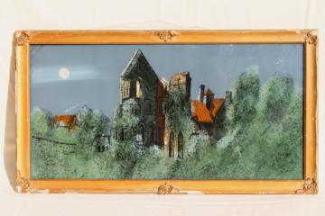 old gothic manor moonlit castle landscape, reverse painted glass picture in shabby antique frame