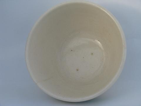 old green banded pottery mixing bowl, vintage USA Oven Proof kitchenware