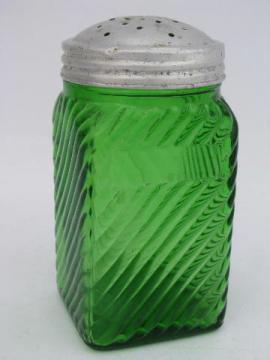 old green depression glass kitchen range shaker, spice canister hoosier jar