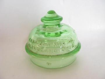 old green depression glass lid knob for Gardella coffee perculator pot
