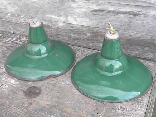 Old Green Enamel Pendant Lights Industrial Work Shop Barn