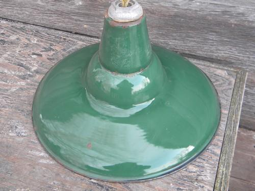 Old Green Enamel Pendant Lights Industrial Work Shop Barn Lighting