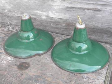 old green enamel pendant lights, industrial work shop/barn lighting