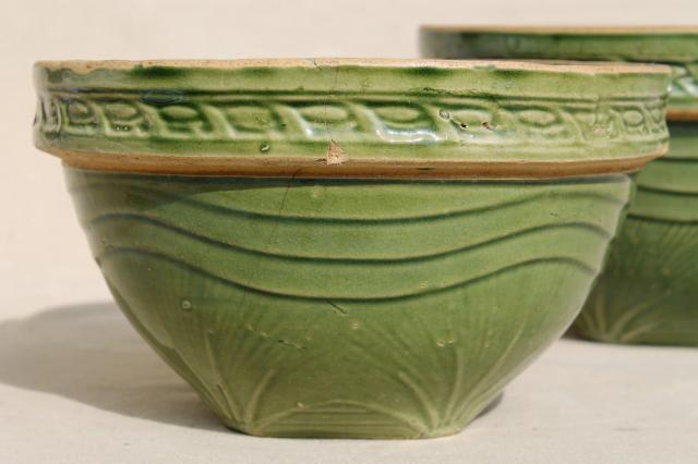 Old Green Glaze Yellow Ware Pottery Mixing Bowls Pine