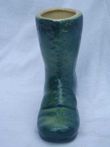 old green glazed yellow ware pottery boot flower planter vase, Shawnee?