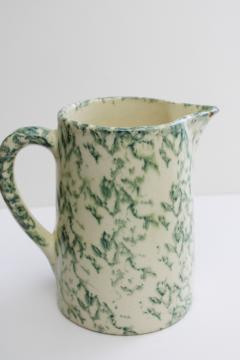 old green spongeware pottery pitcher, early to mid 20th century vintage
